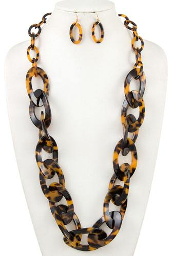 Long acetate chain like link necklace set-id.cc36885