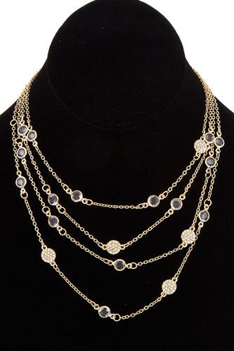 Multi layered crystal gem station necklace-id.cc36887