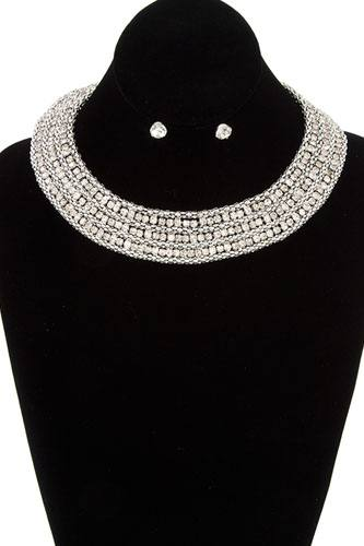 Rhinestone pave collar necklace set-id.cc36888