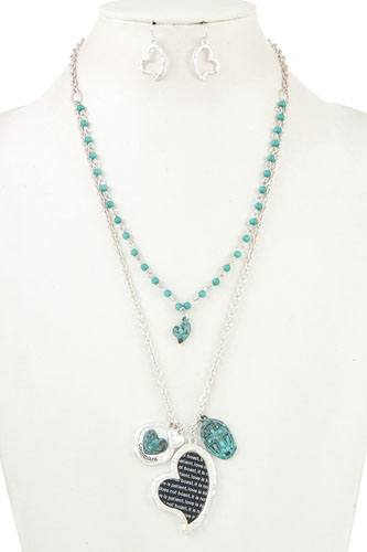 Double layered heart pendant charm necklace set-id.cc36889