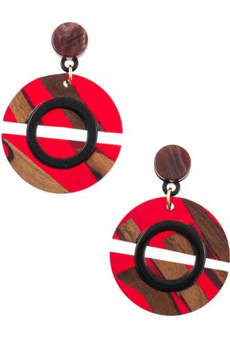 Wood and acetate circle drop earring-id.cc36897