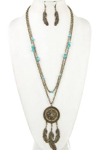 Dream catcher gemstone bead necklace set-id.cc36919