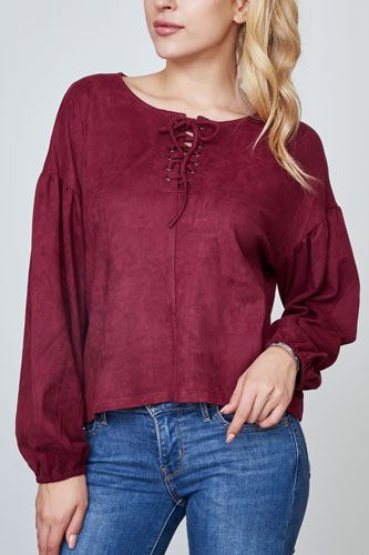 Ladies fashion velvet laced up top-id.cc36920a