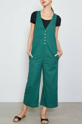 Ladies fashion double v neck wide leg jumpsuit-id.cc36922a
