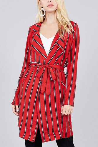 Ladies fashion long sleeve notched collar w/waist belt multi striped long woven jacket-id.cc36930d