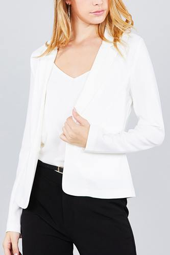 Ladies fashion long sleeve notched collar princess seam w/back slit jacket-id.cc36931c