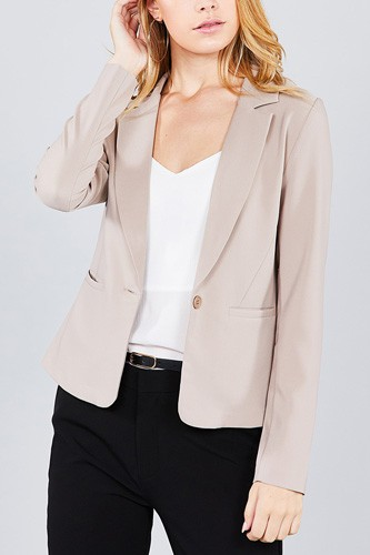 Ladies fashion long sleeve notched collar princess seam w/back slit jacket-id.cc36931d