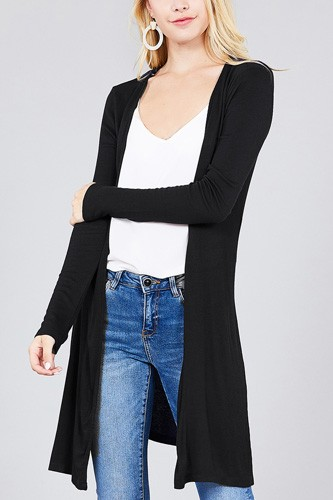 Ladies fashion long sleeve open front side slit tunic length rayon spandex rib cardigan-id.cc36932a