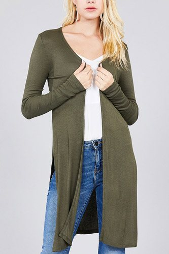 Ladies fashion long sleeve open front side slit tunic length rayon spandex rib cardigan-id.cc36932f