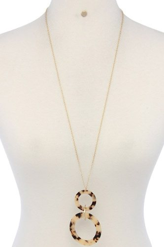 Acetate ring linked pendant necklace-id.cc36953