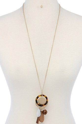 Hammered long teardrop shape acetate ring pendant necklace-id.cc36954