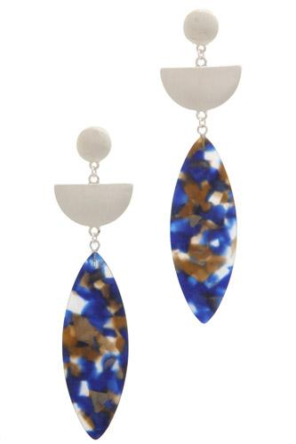 Acetate pointed oval drop earring-id.cc36965