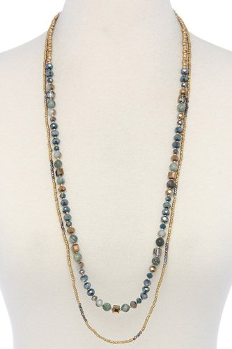 Semi precious stone beaded layered necklace-id.cc36976