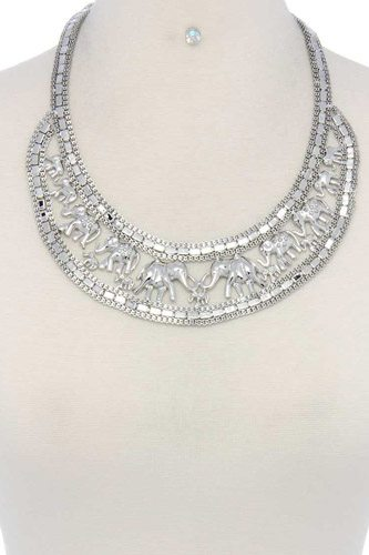 Elephant bib metal short necklace-id.cc36977