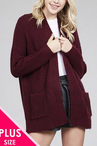 Ladies fashion plus size dolmen sleeve open front surplice back construction sweater cardigan-id.cc36990a