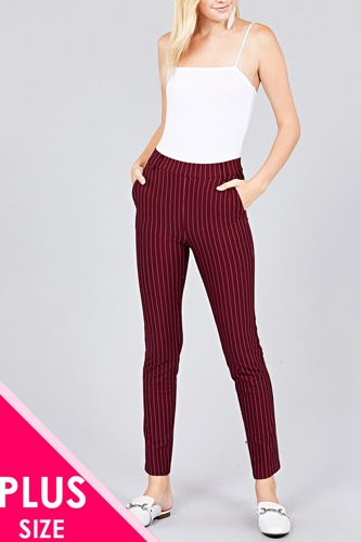 Ladies fashion plus size waist elastic stripe knit pants-id.cc36992