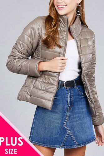 Ladies fashion plus size long sleeve quilted padding jacket-id.cc36994c