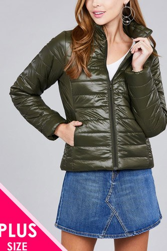 Ladies fashion plus size long sleeve quilted padding jacket-id.cc36994d