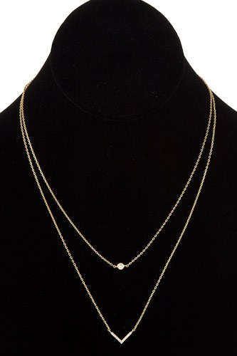 Double row chevron pendant necklace-id.cc37016