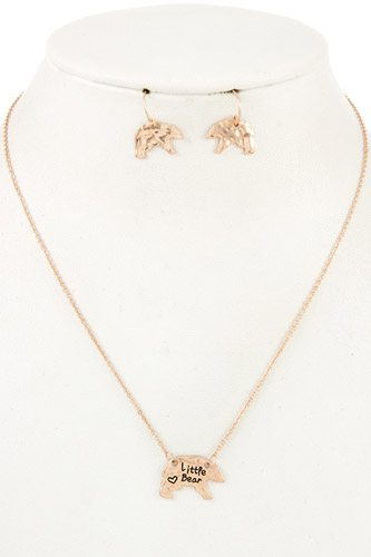 Mama bear and cub pendant necklace set-id.cc37020