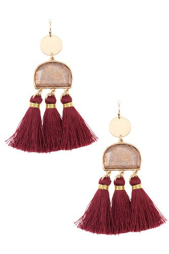 Scratched stone dangle tassel earring-id.cc37033