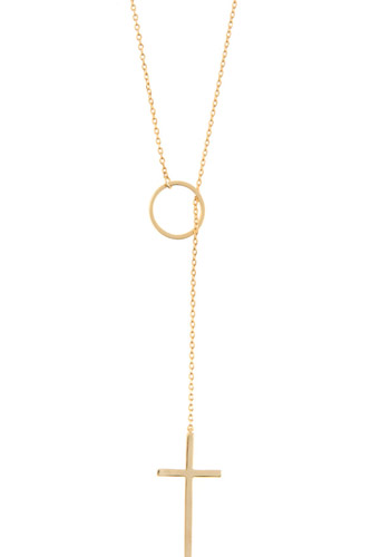 Ring cross lariat necklace-id.cc37048