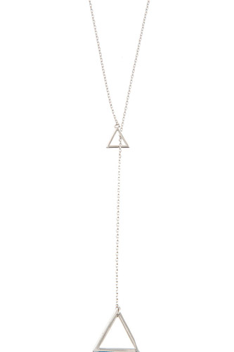 Double triangle pendant lariat necklace-id.cc37049
