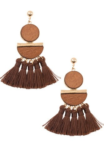 Mix shape link tassel drop dangle earring-id.cc37050