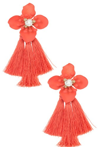 Double tassel floral drop earring-id.cc37052