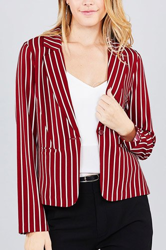 Long sleeve notched collar princess seam w/back slit striped jacket-id.cc37060a