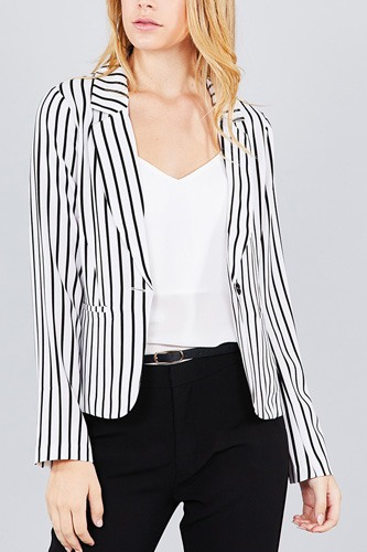 Long sleeve notched collar princess seam w/back slit striped jacket-id.cc37060c