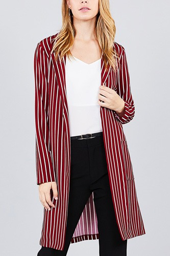 Long sleeve notched collar open front striped long jacket-id.cc37061