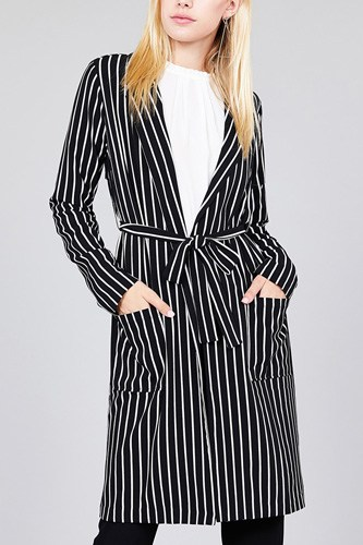 Long sleeve notched collar open front striped long jacket-id.cc37061a