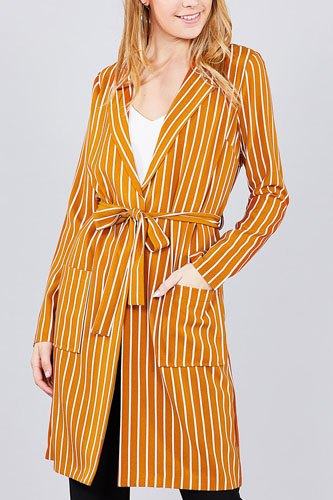 Long sleeve notched collar open front striped long jacket-id.cc37061b