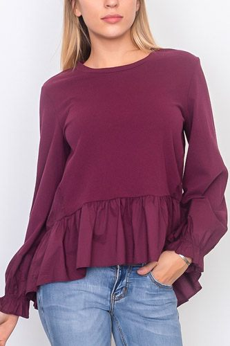 Contrast woven ruffle sleeve round neck top-id.cc37071