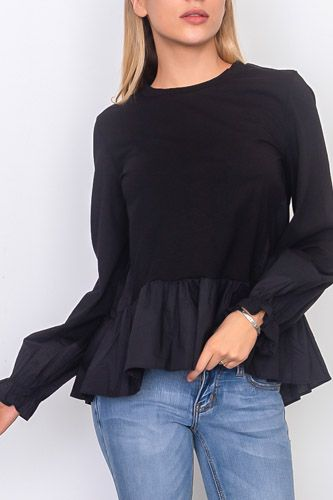 Contrast woven ruffle sleeve round neck top-id.cc37071a