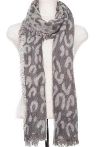 Animal print oblong fringe scarf-id.cc37082