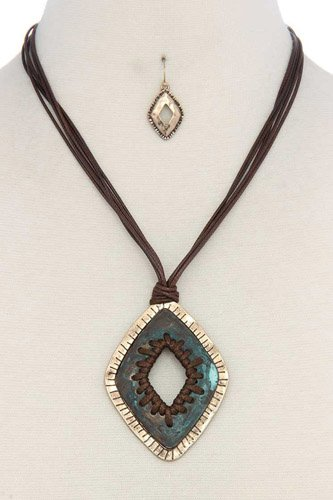 Patina pu leather necklace-id.cc37085