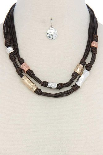 Leather hammered metal short necklace-id.cc37086