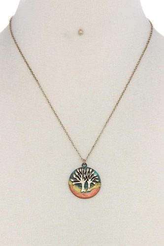 Oak tree circle pendant necklace-id.cc37087