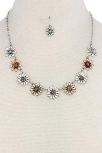 Metal flower short necklace-id.cc37088