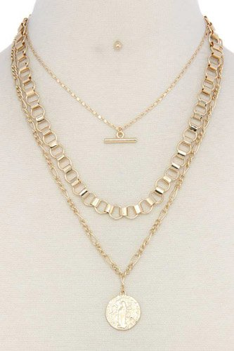 Metal layered short necklace-id.cc37089
