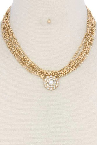 Pearl pendant multi strand short necklace-id.cc37090