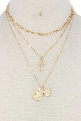 Cross charm layered metal necklace-id.cc37093