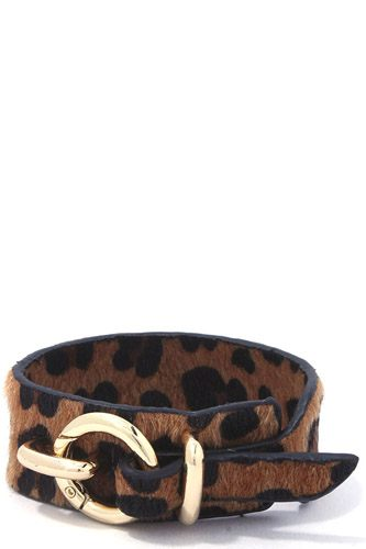 Animal print faux fur bracelet-id.cc37096