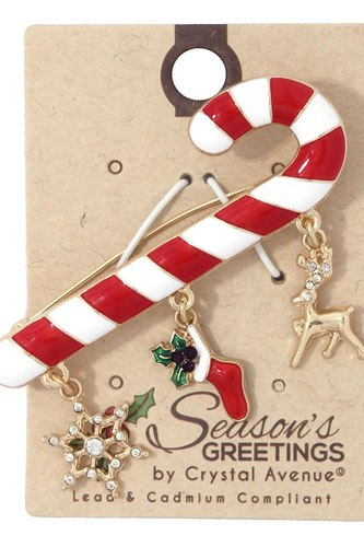Candy cane snowflake stocking dangle brooch-id.cc37117