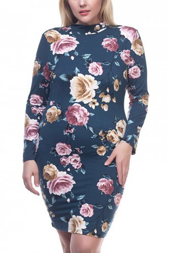 Mock neck floral dress-id.cc37127