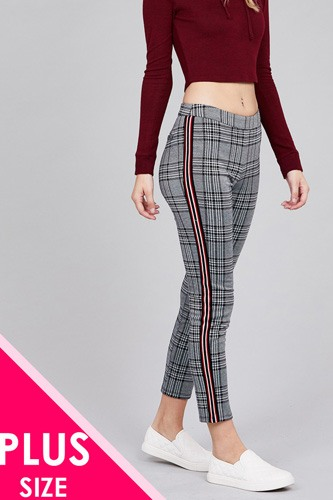 Side tape detail jacquard long pants-id.cc37131