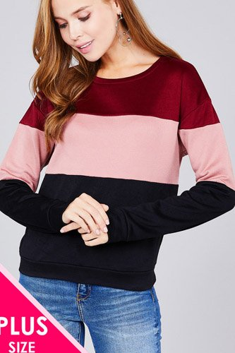 Long sleeve round neck color block pattern brushed french terry top-id.cc37132