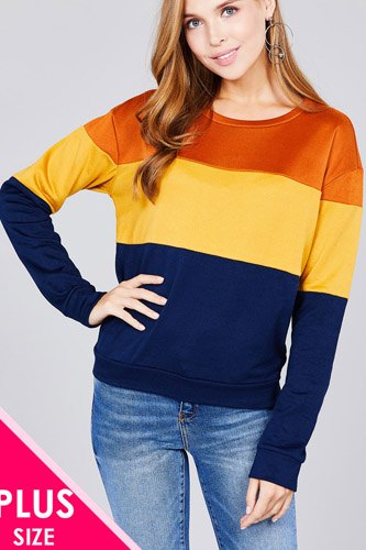 Long sleeve round neck color block pattern brushed french terry top-id.cc37132a